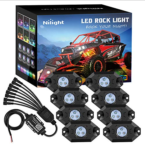 Nilight RGB LED Rock Lights Kit, 8 pods Underglow Multicolor Neon Light Pod w/Bluetooth App Control Timing Function Flashing Music Mode IP68 Exterior Wheel Well Light for Truck ATV UTV RZR SUV (RL07H)