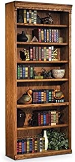 Bowery Hill 7 Shelf Bookcase in Distressed Wheat