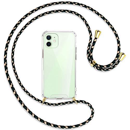 mtb more energy Collana Smartphone per Apple iPhone 12, 12 PRO (6.1'') - Camouflage/Oro - Custodia indossabile per Collo - Cover a Tracolla con cordina