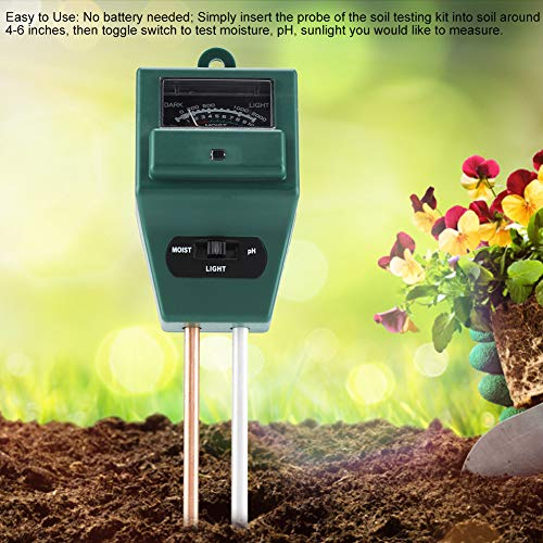 Best Price Cuque Soil Tester, 3 in 1 PH Tester Soil Water Moisture Light Test Meter Sunlight Sensor ...