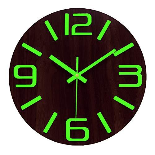 Plumeet Reloj de Pared de 30cm de Madera Luminoso Silencioso con Luz Fluorescente Reloj Decorativo Grande para Cocina, Oficina y Dormitorio (Números 3D Brillantes)