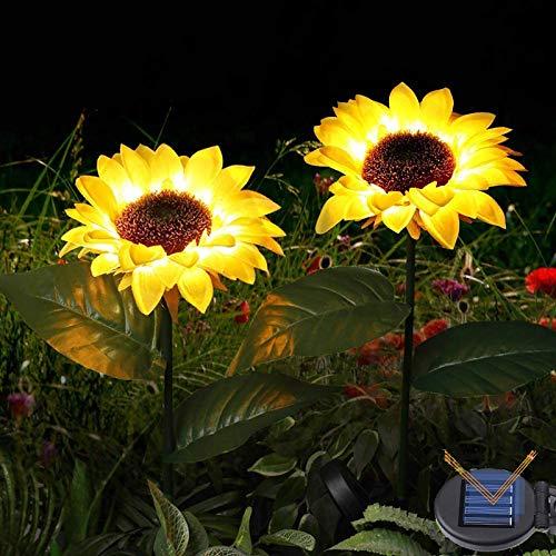 Solar LED Lichter-2er Solar Sonnenblumen Garten Lichter-Pfahl Dekorative Lichter Realistische & natürlich aussehende Blumen Landschaftslichter für Balkon Garten Terrasse Veranda Hinterhof Dekoration