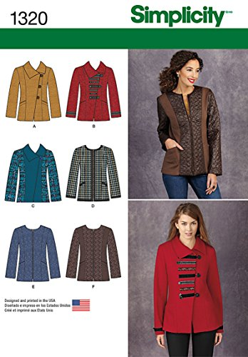Simplicity Pattern 1320 Misses Jacket with Front and Fabric Variations Sizes 16-18-20-22-24