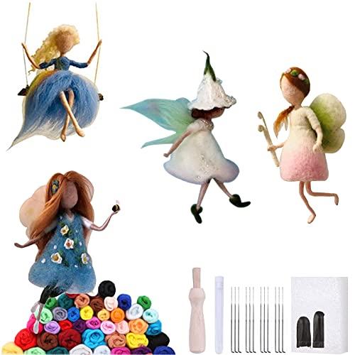 4 Sets Needle Felting Fairy Kits, Magic Wool Fairies Needle Felted Dolls DIY...