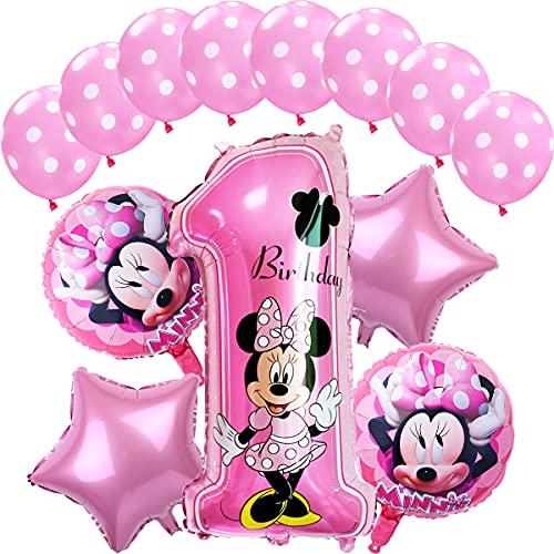 Ballon-Set Minnie Mouse 1 Jahr ZSWQ-Minnie Mouse Themed Geburtstag Dekorationen Party Kindergeburtstag, Luftballon, Set Happy Birthday Banner, Folienballons für Minnie Mouse Themenparty