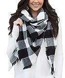 Achillea Women's Oversized Tartan Plaid Check Blanket Scarf Square Winter Warm Shawl Wrap (Black and White Buffalo)