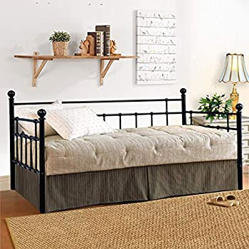 Metal Daybed Frame Twin Metal Slats Platform Base Box Spring Replacement Bed Sofa for Living Room Guest Room  Twin Black