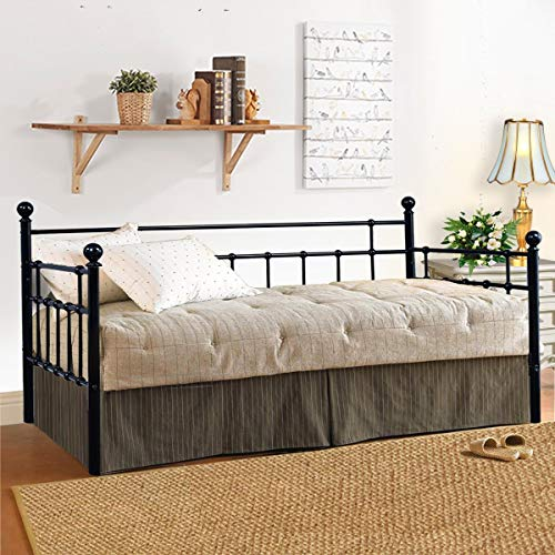 Metal Daybed Frame Twin Steel Slats Platform Base Box Spring Replacement Children Bed Sofa for Living Room Guest Room (Twin,Black)