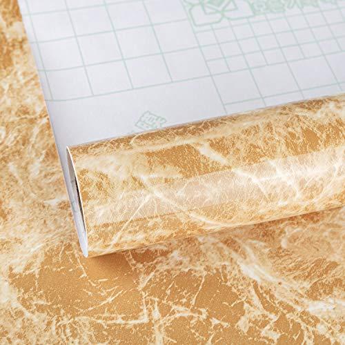 TOTIO Carta da parati adesiva in marmo, colore giallo, 15,75 x 118,11