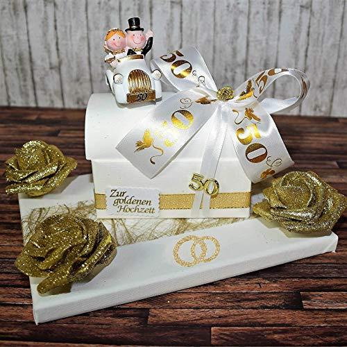 Geld Geschenk zur goldenen Hochzeit - Truhe auf Geschenkplatte -