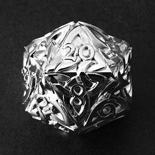 Endless Light Dice (Silver) D20 Dice Celtic Knots Solid Metal Extra Large Extra Heavy for DnD Dungeons and Dragon Call of Cthulhu Pathfinder Tabletop RPG Polyhedral Dice Paladin Cleric Dice Druid Dice
