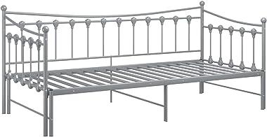 LEFTLY Canapé-lit élégant avec cadre de lit pour invités en métal gris 90 x 200 cm