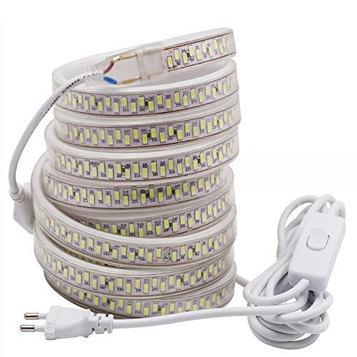 FOLGEMIR 4m Striscia LED con interruttore ON/OFF - bianco caldo 3000K, 5630 SMD 180 Leds/m, 220V 230V, IP65 impermeabile, decorazione per casa, cucina, bar, Natale, feste e matrimoni