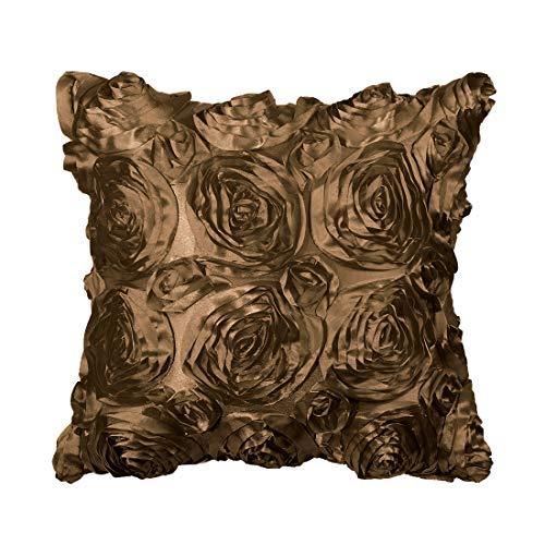 PICCOCASA 3D Satín Rosa Flor Cojín Funda Conchas, Arte Decorativo Puro Color Rosas Floral Almohada Fundas para Sofá Cama, 16'x 16' Color café PC 1