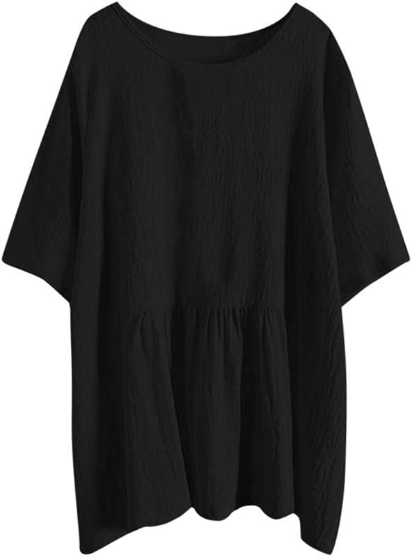 Alangbudu Women Loose Cotton Linen Tank Top Batwing Sleeve High Low Irregular Ruffle Hem T Shirt Flowy Swing Dress
