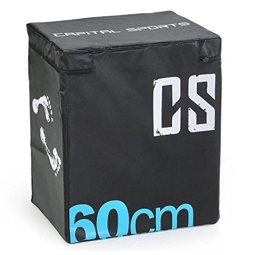 CapitalSports Rooksy Caja de Salto pliométrica Suave 60x50x30 cm (Robusta para Entrenamiento de Salto y Cross, Estable Interior, Suave Revestimiento, Exterior Cubierto) - Negro