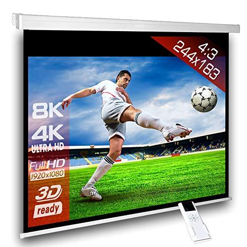 Écran de projection motorisé 240 x 180 cm SlenderLine Plus, Format 4:3 FULL-HD 3D 4K 8K, Écran de projection électrique pour vidéoprojecteur, Home Cinema, pour Mur ou Plafond, avec Télécommande