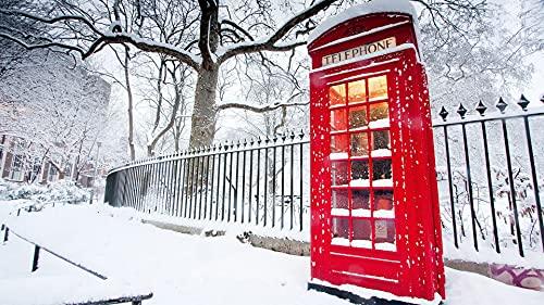 Bdgjln Puzzle 1000 Piezas-Cabina de teléfono en la Nieve.-Puzzle Rompecabezas,Puzzle Creativo, Educativo Intelectual Desafío Intelectual Juego para Adultos Niños-50x75cm