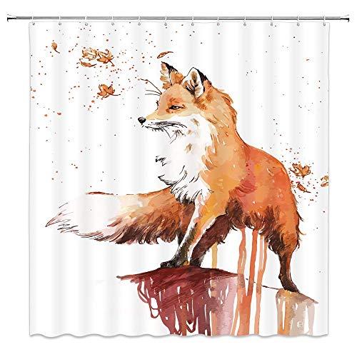 JOOCAR Design Duschvorhang, Aquarell schöner roter Fuchs Herbst Ahorn, wasserdichter Stoff Stoff Badezimmer Dekor Set mit Haken