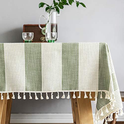 Plenmor - Mantel de algodon y lino para mesa rectangular con borla, para mesa de comedor, a prueba de polvo, mantel para decoracion de mesa, Lino algodon, Verde, 140x140 cm