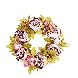 Spring Leaf Wreath Plastic Artificial Flowers (Peony Flower, Daisy, Cosmos, Colored Phoenix Leave) Wreath Home Decoration, Front Door Hanging Wall Window Wedding Party Garden Decoration