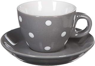 Secret de Gourmet - Lot de 4 tasses sur rack pois gris