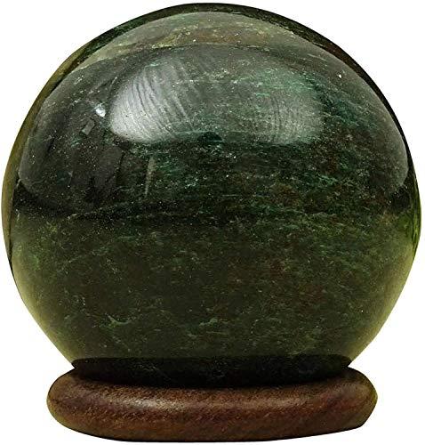Bola de piedra Esfera Reikiera verde jade con el anillo de soporte Aura Equilibrio Cristal Reiki Cicatrización Elija un tamaño