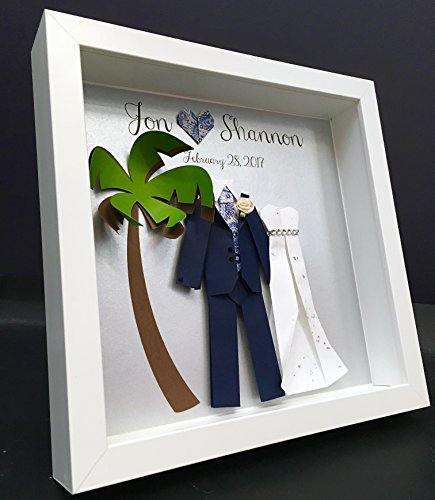 Amazon Com Personalized Destination Wedding Gift First Anniversary Engagement Gift Paper Origami Bride Groom With Palmtree Shadowbox Frame Wall Art Handmade