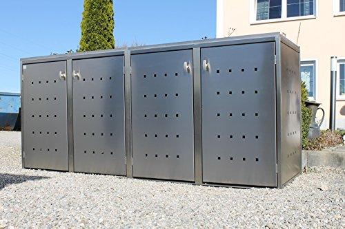 Resorti Mülltonnenbox Basic Edelstahl Kombi 4er 120 / 240 Liter - 2