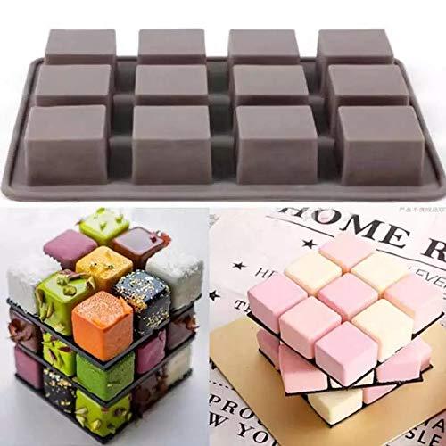H-ENY Moule De Silicone De Gâteau 1 Feuille 12 Trous Carré 17 * 13 Cm Moule Au Chocolat Fondant Pâtissier Décorations De Pâtisserie DIY Accessoires De