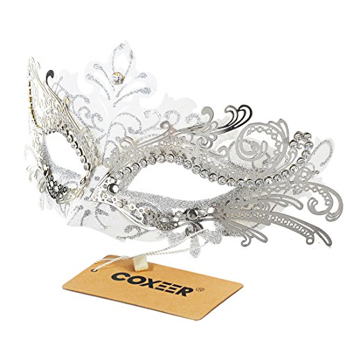 Masquerade Mask, Coxeer Venetian Mask Mardi Gras Mask Halloween Costume Feather Mask for Halloween (1-White)