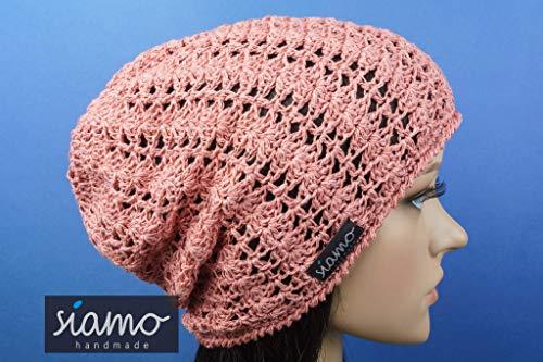 Sommer-Beanie SAVONA altrosé Sommer-Mütze von siamo-handmade