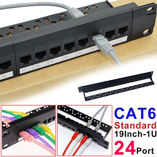24 Port 1U Montaje En Bastidor Cat5 Panel De Conexiones Patch Panel Pro Rj45 110 Mini Panel De Conexiones De Red Parche De Panel Integrado De Moldeo, No Se Oxidan, Duradero (Cate6 Rj45 Recto)