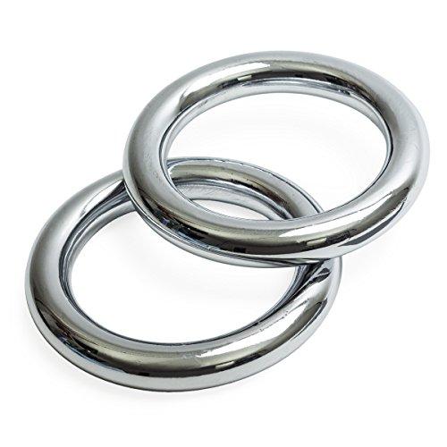Wu designs, anelli in ferro (coppia), cromati, per Hung Gar Kung Fu e allenamento con i pesi, S (Innendurchmesser: 7,4cm / 2* 530g)
