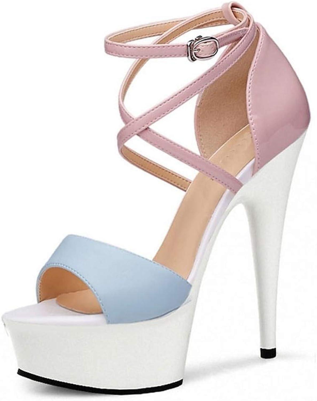 Damenschuhe PU PU PU (Polyurethan) Sommer Formale Schuhe Sandalen Stöckel Absatz Peep Toe Kristall Schnalle Hellgelb Blau Party & Abend  6b5605