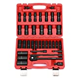 CASOMAN 1/2' Drive Master Impact Socket Set, 36 Piece Deep, Standard SAE (3/8' To 1-1/4') & Metric (10-32 mm) Sizes, Includes Extension Bar (3, 5, 10-inch), Adapters & Ratchet Handle, CR-V Steel