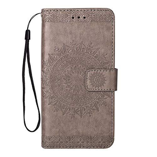 Coque Galaxy S8, SONWO Gaufrage Mandala Motif Housse Cuir PU Flip Portefeuille Etui avec Portable Dragonne et Carte de Crédit Slot pour Samsung Galaxy S8, Gris