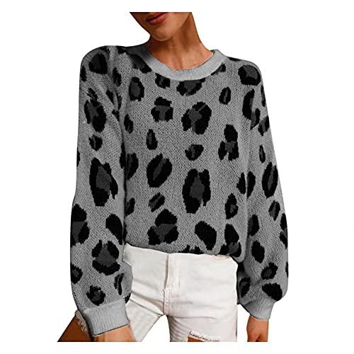SHIZUANYUE - Jersey para mujer con cuello en V, jersey de punto extragrande de manga larga, sudadera, sudadera, suéter grande de punto fino, para mujer, estampado de leopardo, para otoño, gris, XL