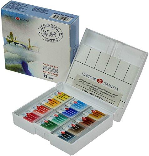 White Night Artists - Juego de 12 sartenes enteros para acuarela, caja de plástico