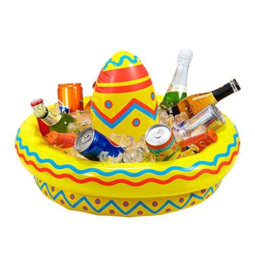 NET TOYS Aufblasbarer Sombrero mit Getränkekühler Flaschenkühler Beach Party 50 cm Tequila Mexikaner Hut aufblasbar Mottoparty Mexico