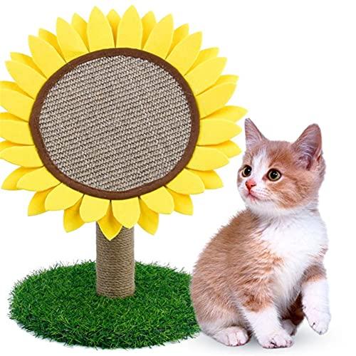 Aiglen Cama de árbol de Juguete para Gatos en Forma de Girasol con Poste rascador con Actividad de Escalada de Gatito de sisal Torre Escalador Casa Centro de Juegos para Gatos