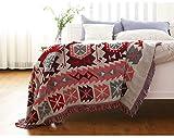 luofanfei Tagesdecke Strickdecke Boho Handgemachte Wohndecke Wendedecke Kuscheldeck Schal Decke Überwürfe für Sofa Bett Überwurf Decken 180x230 cm