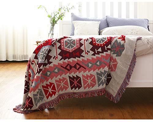 luofanfei Kuscheldecke Wohndecke Baumwolle mit Fransen Rosa Rot Beige Tagesdecke Schlafzimmer Sofaüberwurf Boho Geometrisches Muster Sofa überwurf 130x180 cm