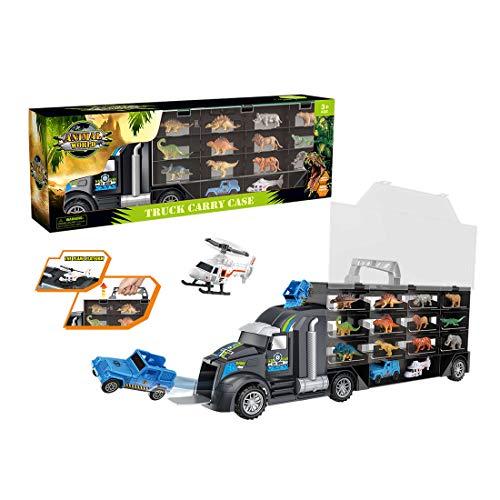 Yavso Dinosaurier Transporter Truck, Dinosaurier LKW Spielzeug mit 24 Dinosaurier Figuren und Flugzeuge für Kinder Adventskalender