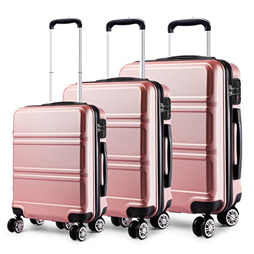 Kono Juego Set 3 Maletas Trolley Rígida ABS Equipajes de Viaje (55cm,66cm,74cm)-Rosa Oro