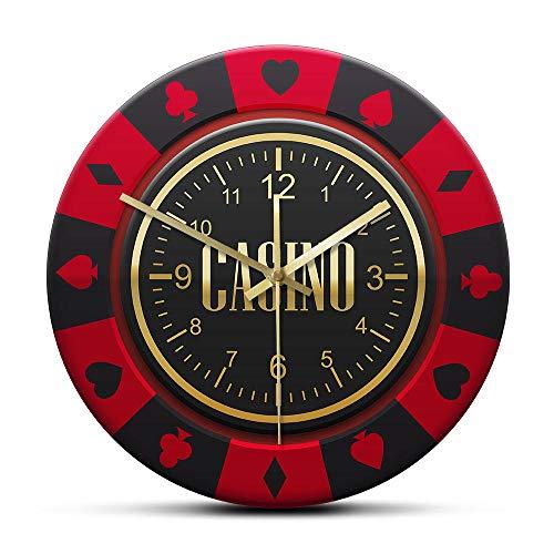 Gamble Chip Reloj de Pared con Estampado de Ruleta Diseño de Chip de Torneo Reloj silencioso Que no Hace tictac para Pub Club Casino Decoración de Pared-No_Frame