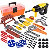 Durable Kids Tool Set, 53 Pieces Pretend Play Educational Toy Tools, Tool Playset with Construction Costume and Electric Drill in Tool Box, Play Tools Gift for Toddler Boys Girls 3 4 5 6 7 8 Years Old