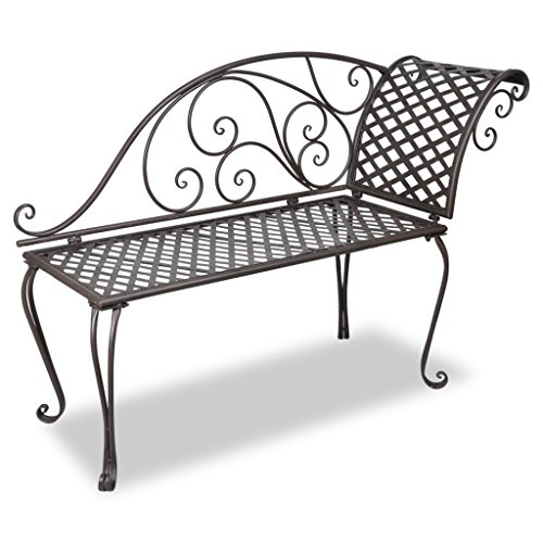 Anself Antique Metal Garden Chaise Lounge Left Chair Patio Furniture Set Scroll-patterned Brown