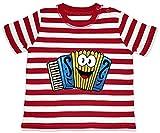 Hariz - Camiseta para bebé, diseño de rayas, acordeón con texto en alemán rojo Bomberos rojo/blanco lavado. Talla:3-6 meses