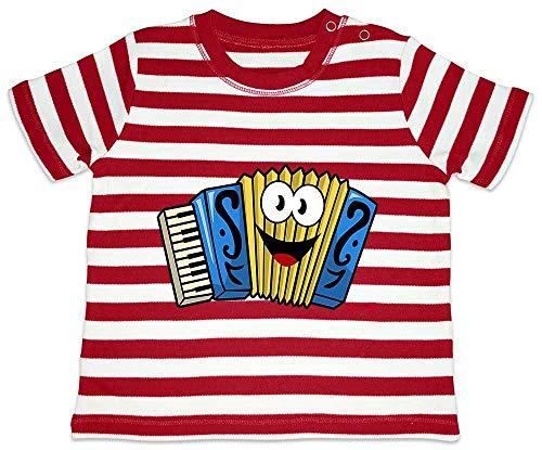 Hariz - Camiseta para beb, diseo de rayas, acorden con texto en alemn rojo Bomberos rojo/blanco lavado. Talla:3-6 meses